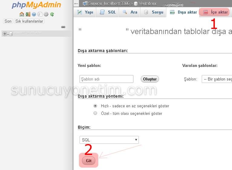 mysql veritabanı'nı phpmyadmin üzerinden yedekleme
