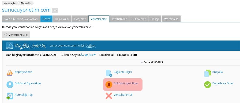 Mysql veritabanı geri yükleme plesk panel ile